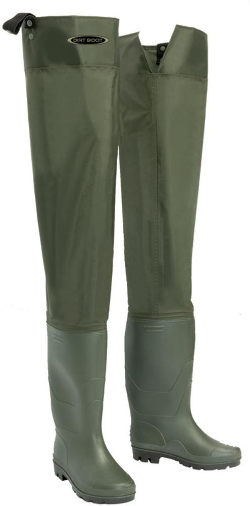 Dirt boot nylon thigh hip waders 100 waterproof fly for Waterproof fishing boots
