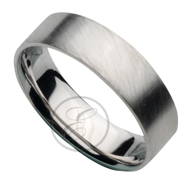 Brushed Palladium Mens Wedding Ring
