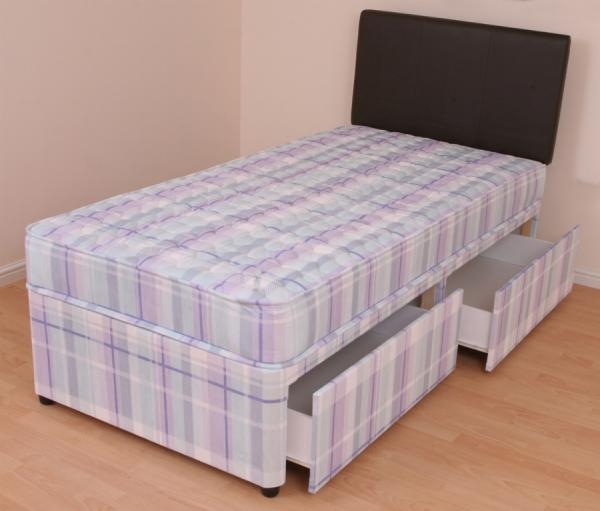 Single Divan Bed 3ft Orthopaedic Mattress Melissa Slide Drawer Storage Ebay