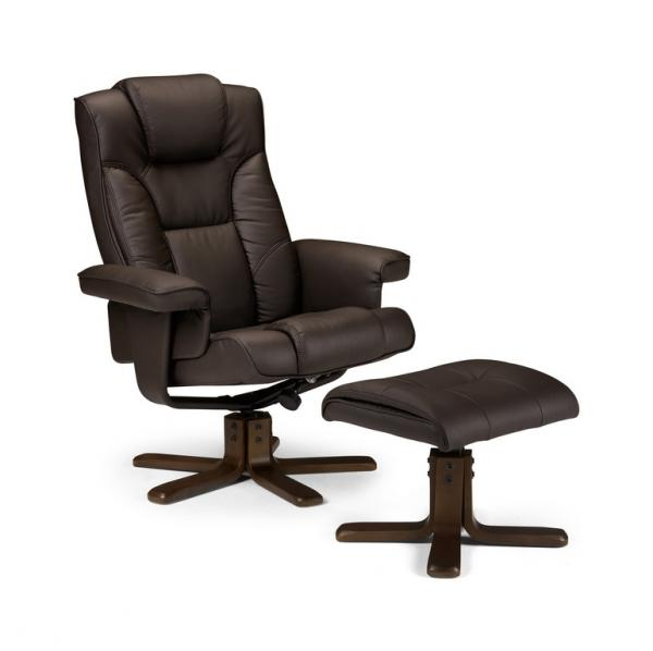 Stylish Reclining Faux Leather Chair And Footstool Malmo Chocolate Or Bla
