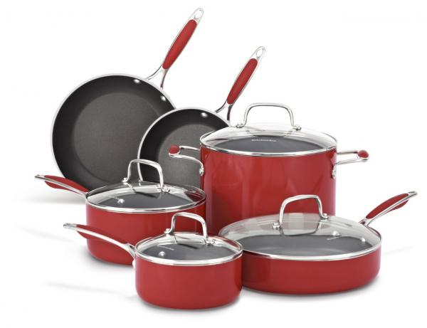 Kitchenaid aluminum nonstick 10 piece set kcas10 ebay - Kitchenaid aluminum nonstick piece cookware set ...