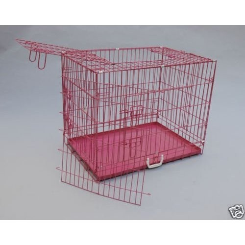 48-3-Door-Folding-Suitcase-Dog-Crate-Pet-Cage-Cat-Kennel-w-DIVIDER-Metal-Pan