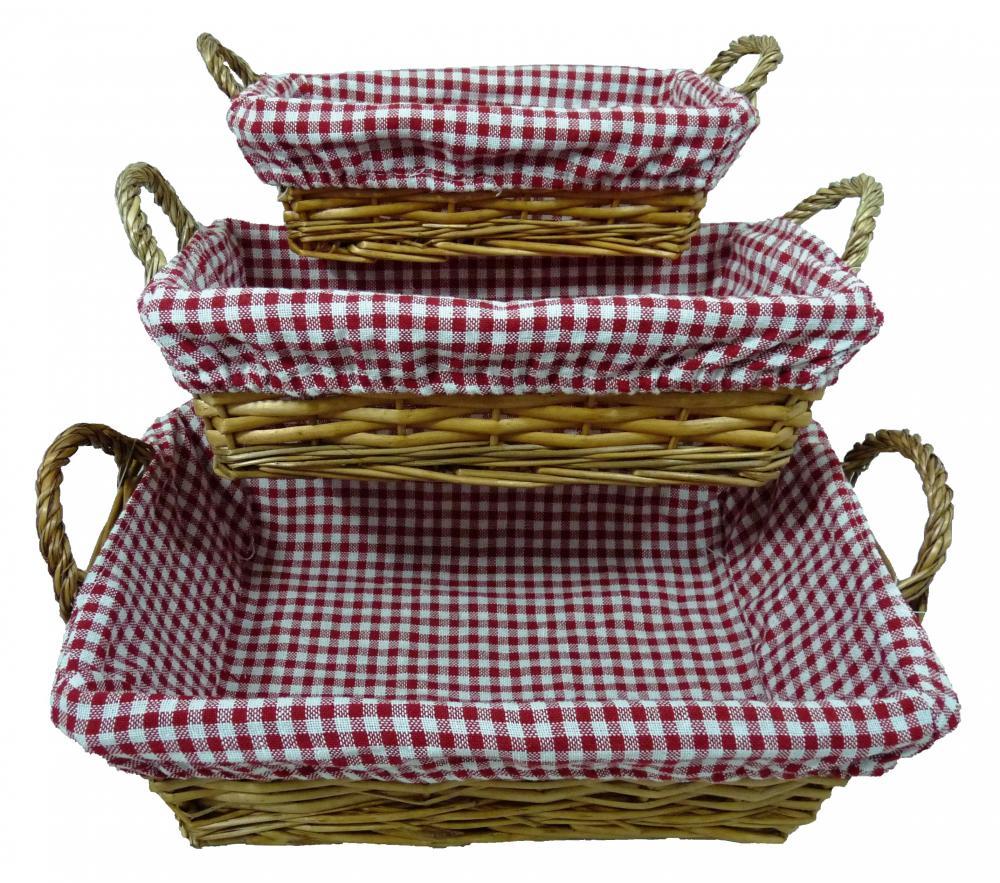 Mini-Honey-Wicker-Rectangular-Storage-Basket-w-Red-Gingham-Lining-in-3-Sizes