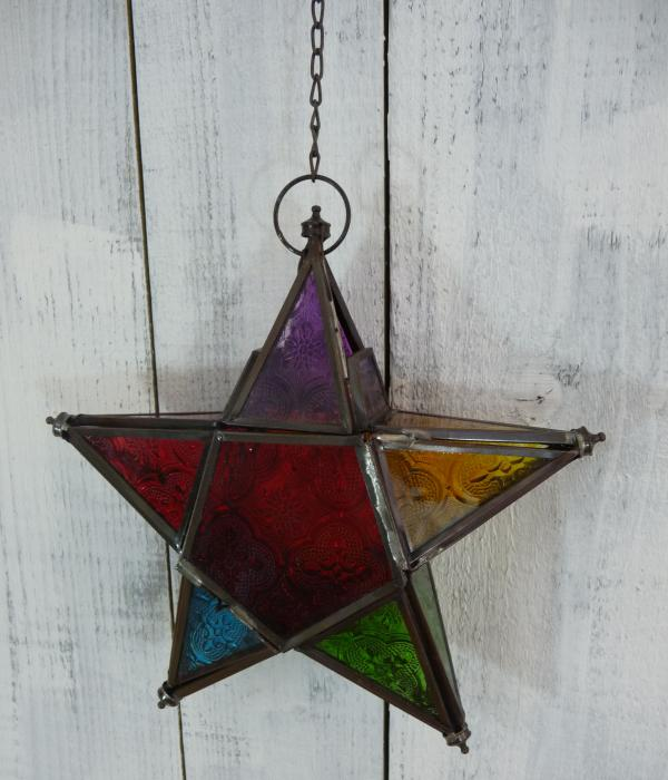 Hanging-Multi-Coloured-Glass-Star-Tea-Light-Candle-Holder-Lantern-Home-Decor