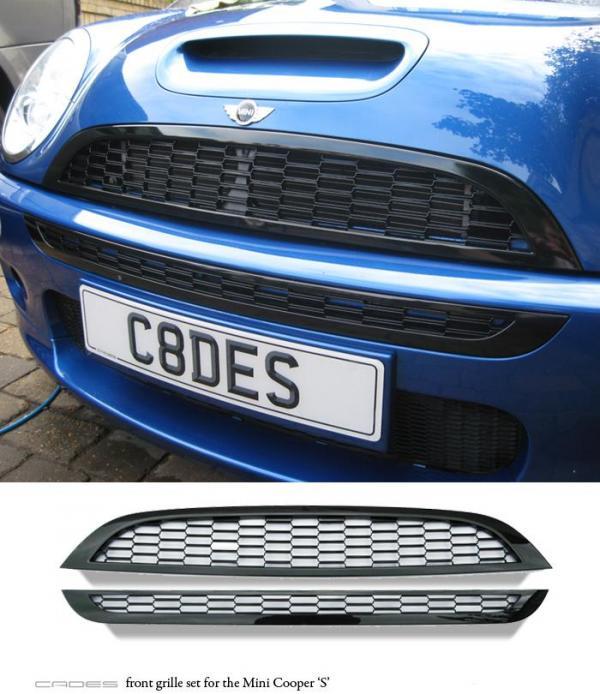 cades mini cooper s 01 06 r53 chrome front grille kit 2 piece. Black Bedroom Furniture Sets. Home Design Ideas