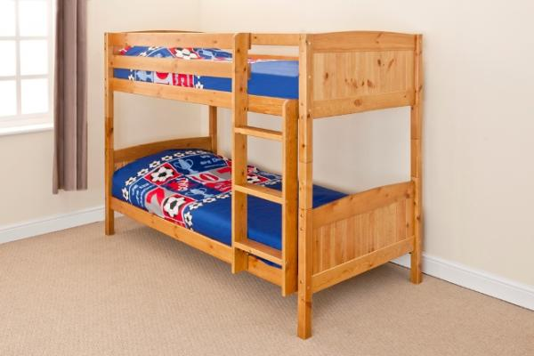 Wooden Bunk Bed Childrens Kids Pine Or White 3ft