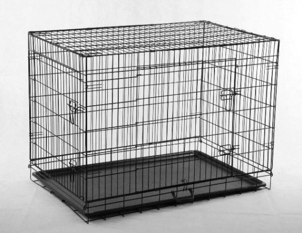 Black 48 Quot 2 Door Pet Cage Folding Dog W Divider Cat Crate