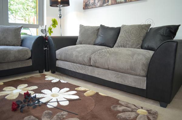 Jumbo Cord Black Amp Grey Fabric Sofas 3 2 Seater Sofa