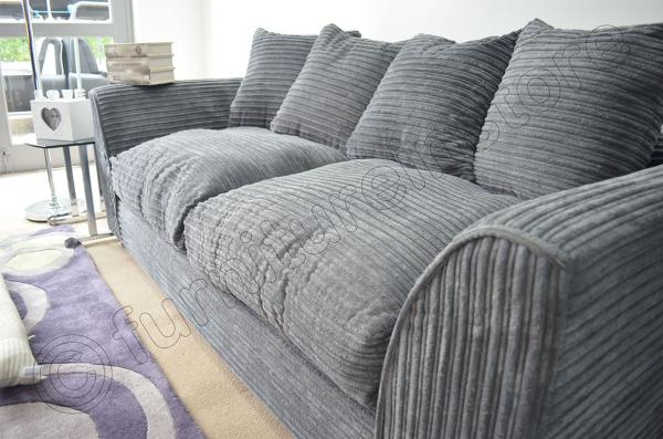 Grey fabric sofa fernando corner lhf with footstool fabric for Cord sofa 70er