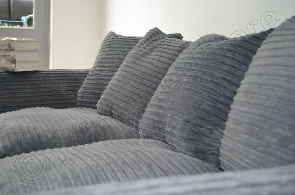 Dylan 3 Seater Sofas In Grey Jumbo Cord Fabric Sofa