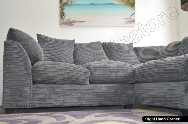 jumbo cord grey corner sofas 3 seater 2 seater sofa swivel chairs stools ebay. Black Bedroom Furniture Sets. Home Design Ideas