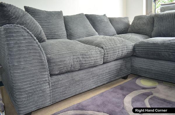 Jumbo Cord Grey Corner Sofas 3 Seater 2 Seater Sofa