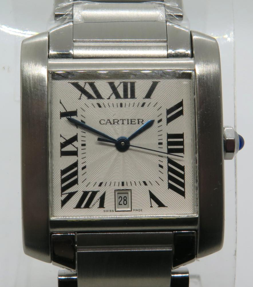 36dceea7a6d Details about Cartier Tank Francaise 2302 Stainless Steel Automatic Watch  On Bracelet 28mm