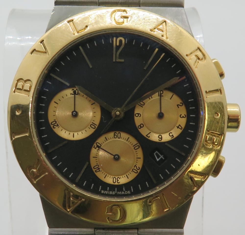 3daebbed342 Bvlgari Bulgari Diagono CH35SG Chronograph Steel   18K Gold On Bracelet 35mm